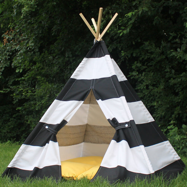Kids Teepee Black and White Extra Wide Stripe, Can Include A Window