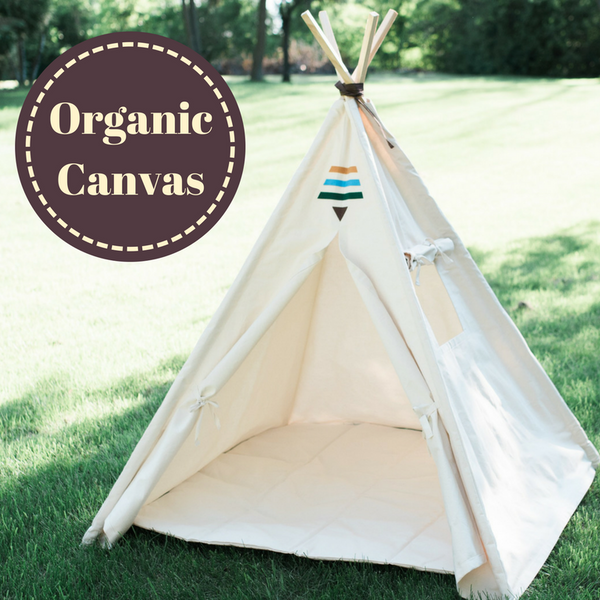 Organic Canvas Kids Tent, Tribal Boho Teepee Childrens Tepee Playhouse