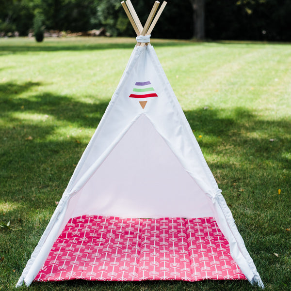 White kids teepee tent with tribal stripes