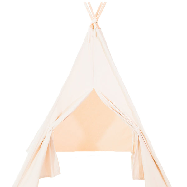 Natural or White Canvas Teepee Tent with Door Ties, Also Available in ORGANIC FABRIC