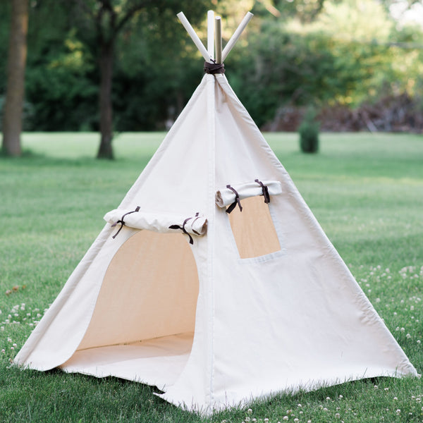 Kids Canvas Teepee Tent with Roll Up Door