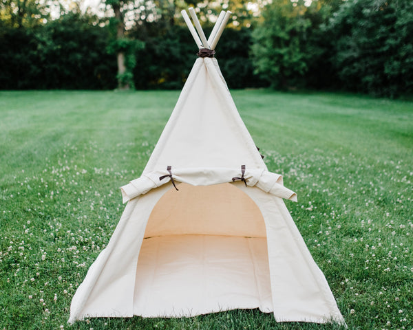 Organic Canvas Teepee Play Tent With Unique Roll Up Door