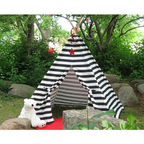 Play Tent Teepee Black and White Striped Teepee Tent
