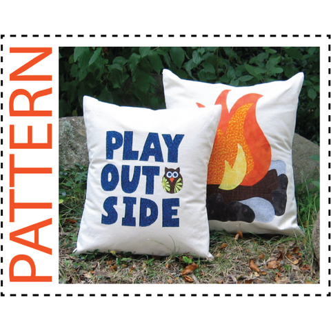 Campfire Pillow Cover Sewing Pattern and Play Outside Pillow Cover Sewing Pattern