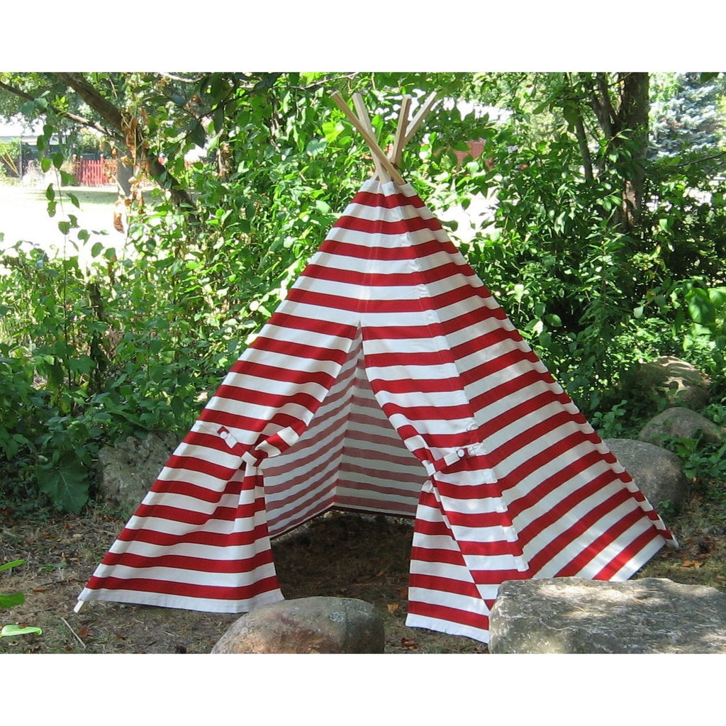 Red and White Stripe Play Teepee Tent