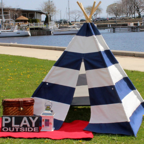 Kids Teepee Navy and White Extra Wide Stripe, Nautical Style
