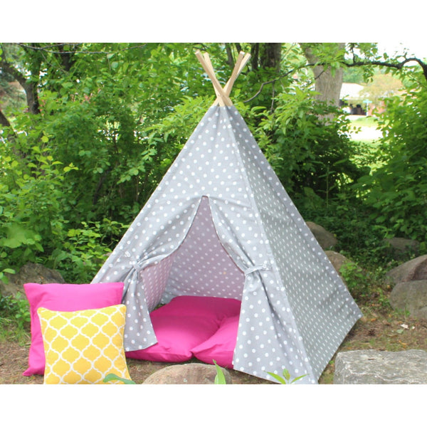 Kids Play Teepee Tent Gray and White Polka Dot