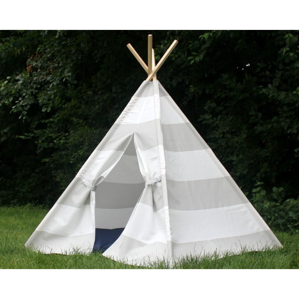 Kids Play Tent Gray and White Wide Stripe Teepee