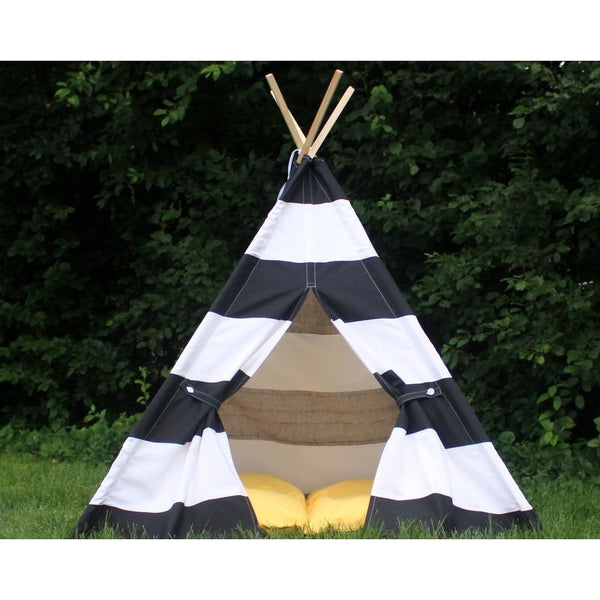 Childrens Teepee Tent Extra Wide Black and White Stripe Teepee