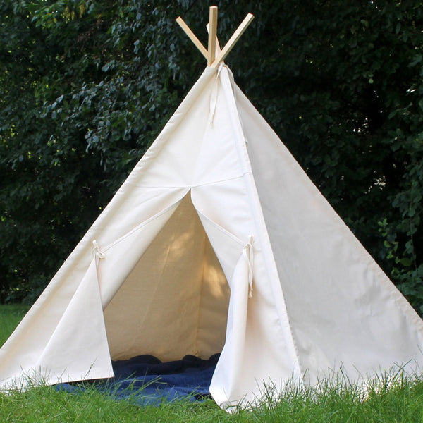 Natural Canvas Teepee Tent with Poles