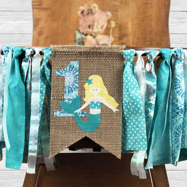 Mermaid Birthday High Chair Banner