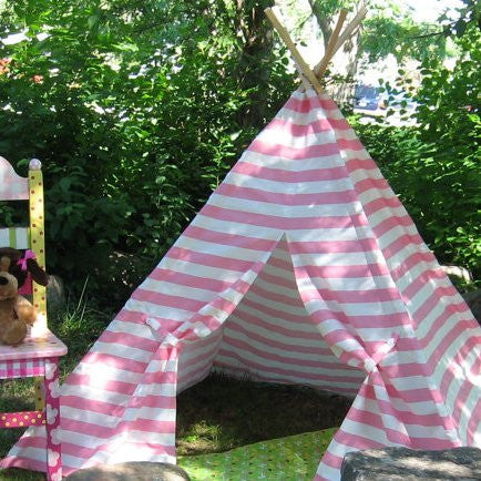 Kids Play Tent Teepee Baby Light Pink and White Striped Teepee Tent