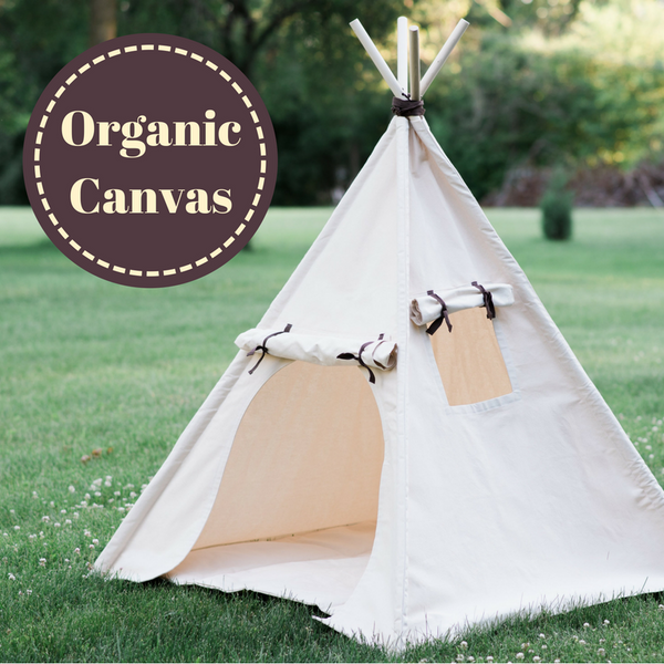 Organic Canvas Teepee, Play Tent with Unique Roll Up Door, Kids Tepee with Window, Two Sizes
