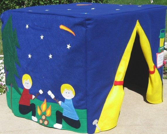 Camping card table playhouse for kids