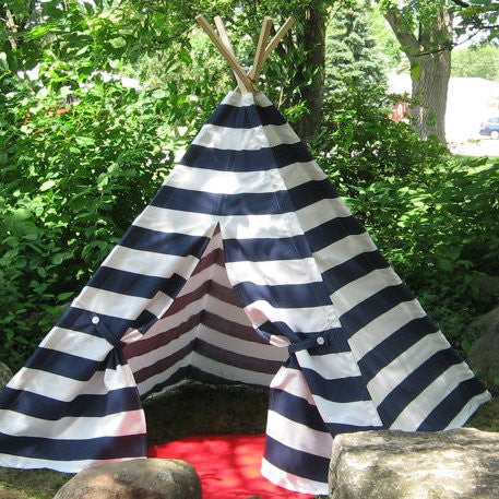Kids teepee play tent with navy and white stripes