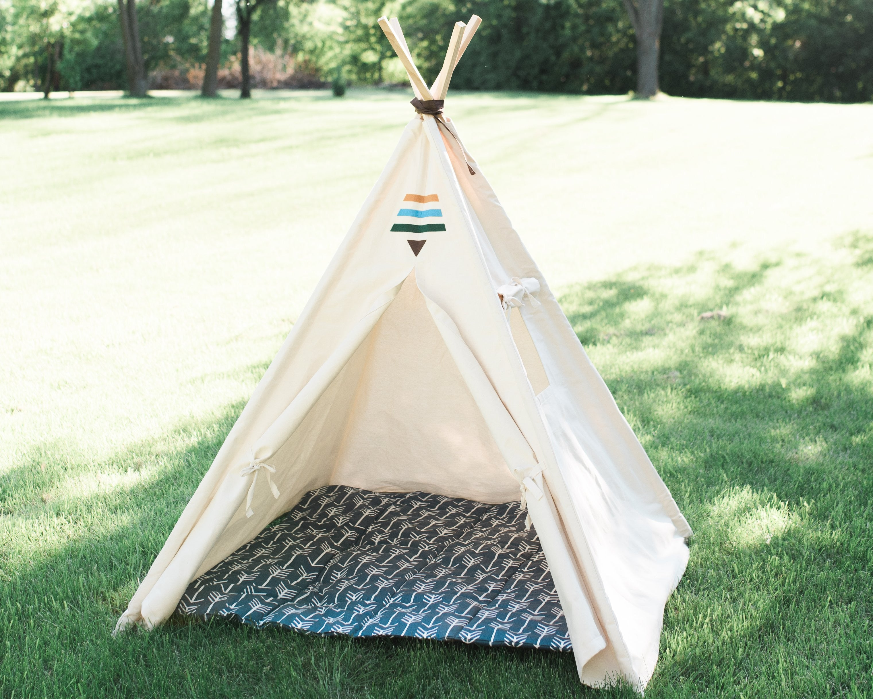 Tribal Teepee Two Sizes Canvas Kids Tent Childrens Play Tepee