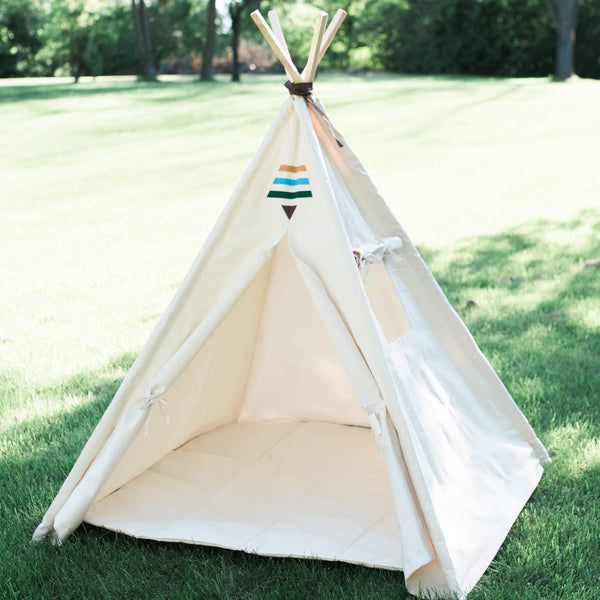 Tribal Teepee, Canvas Kids Tent, Childrens Play Tepee Playhouse