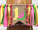 Watermelon birthday high chair teepee banner