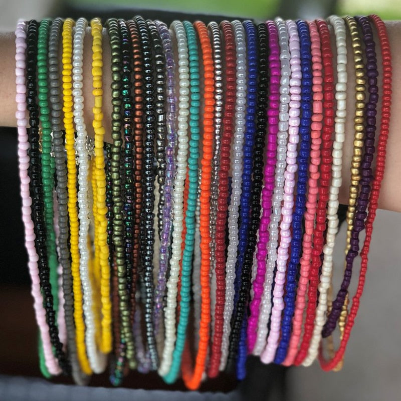 10pcs/set Random Color Beach - Handmade Beads Waist Chains For Women Summer Belly Chains Belt Body Jewelry