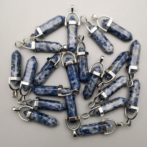 Natural stone crystal pillar Pendants for necklaces - 24 Pcs