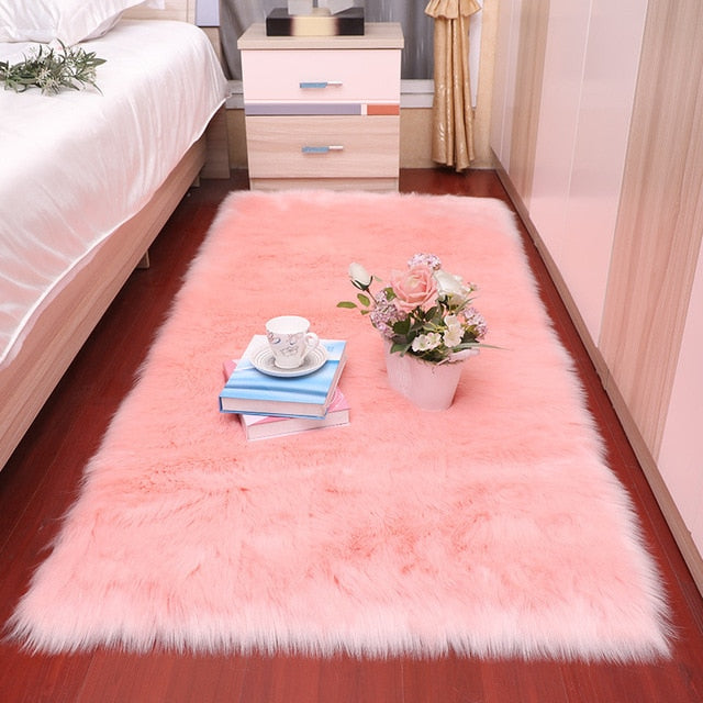 Bedroom carpet Soft fluffy Sheepskin Fur Area Rugs