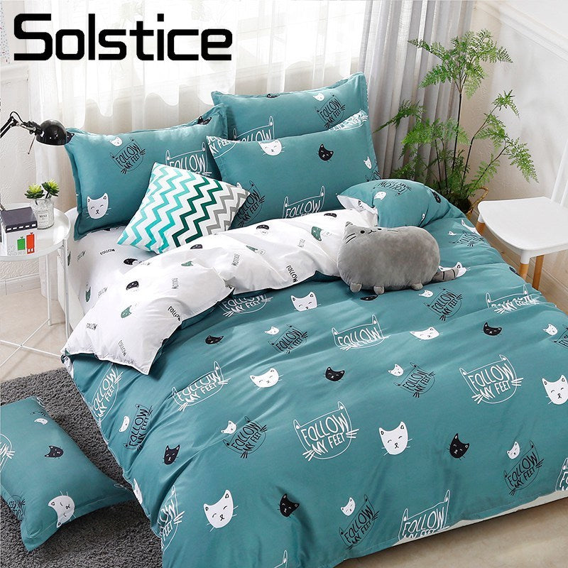 Cyan Cute Cat Kitty Duvet Cover Pillow Case Bed Sheet