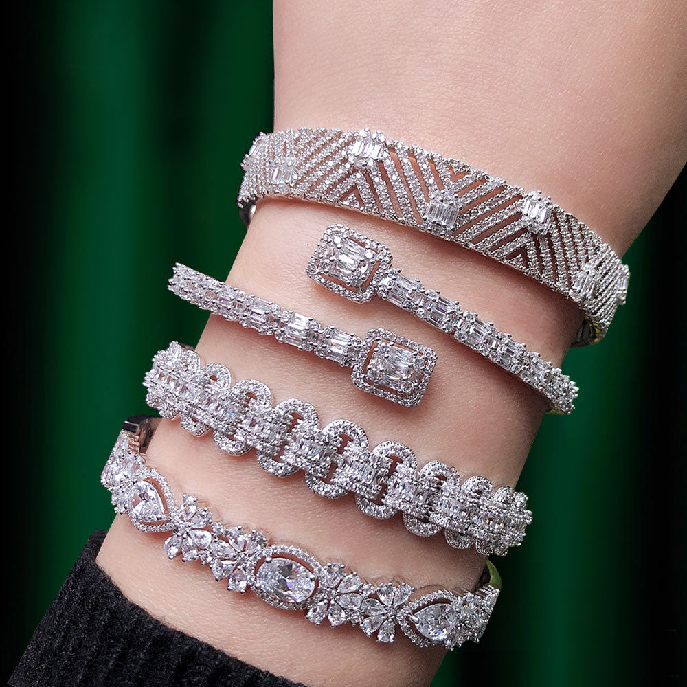 Trendy & Luxury Stackable Bangle Cuff CZ