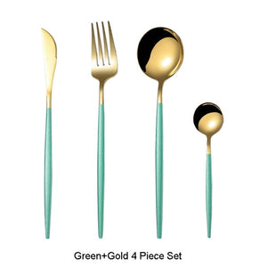 4Pc Black Gold Cutlery Set