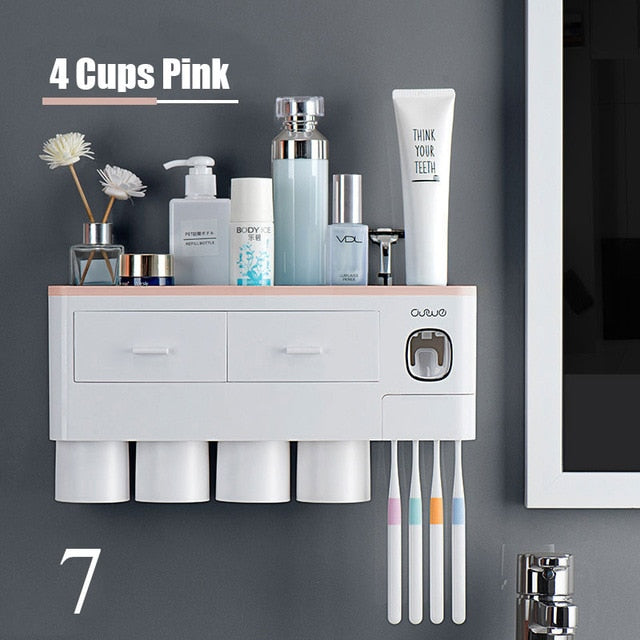 Magnetic Cup Wall Mount Toiletries Storage Rack