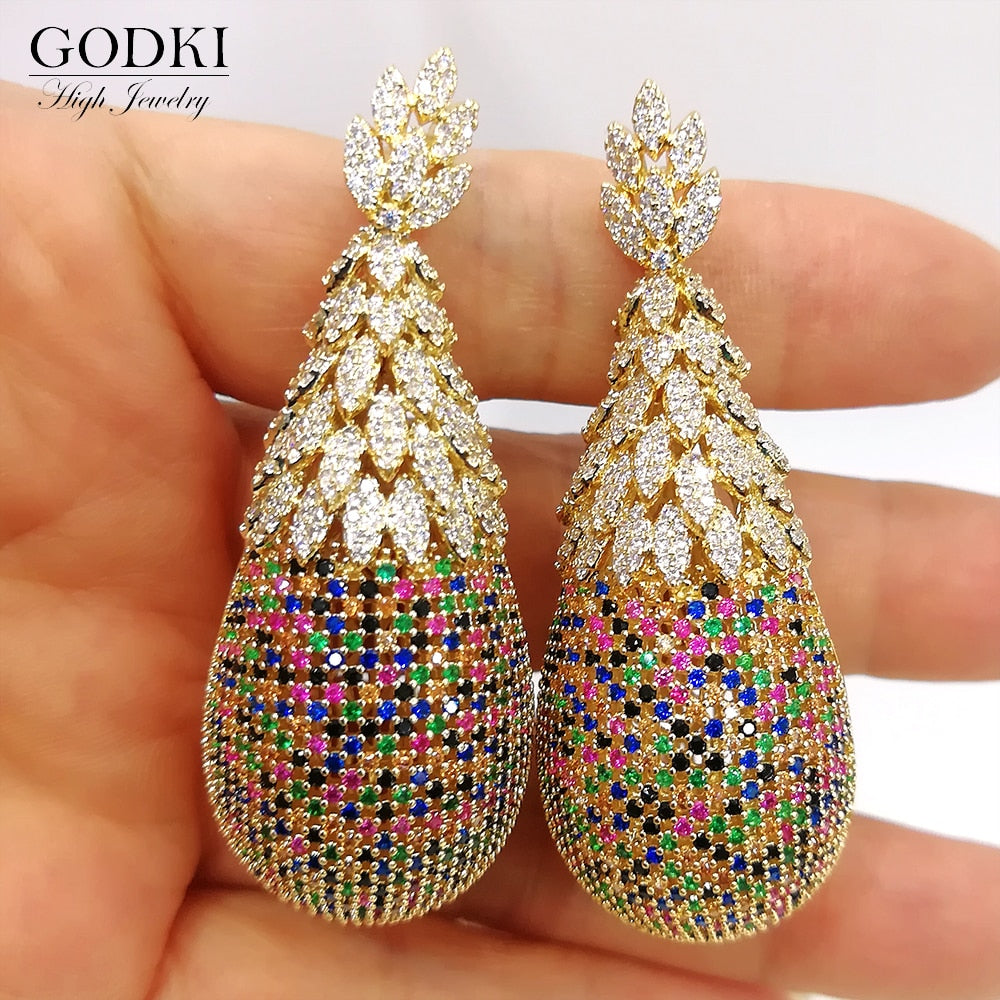 Pineapple Drop Earrings - Cubic Zirconia