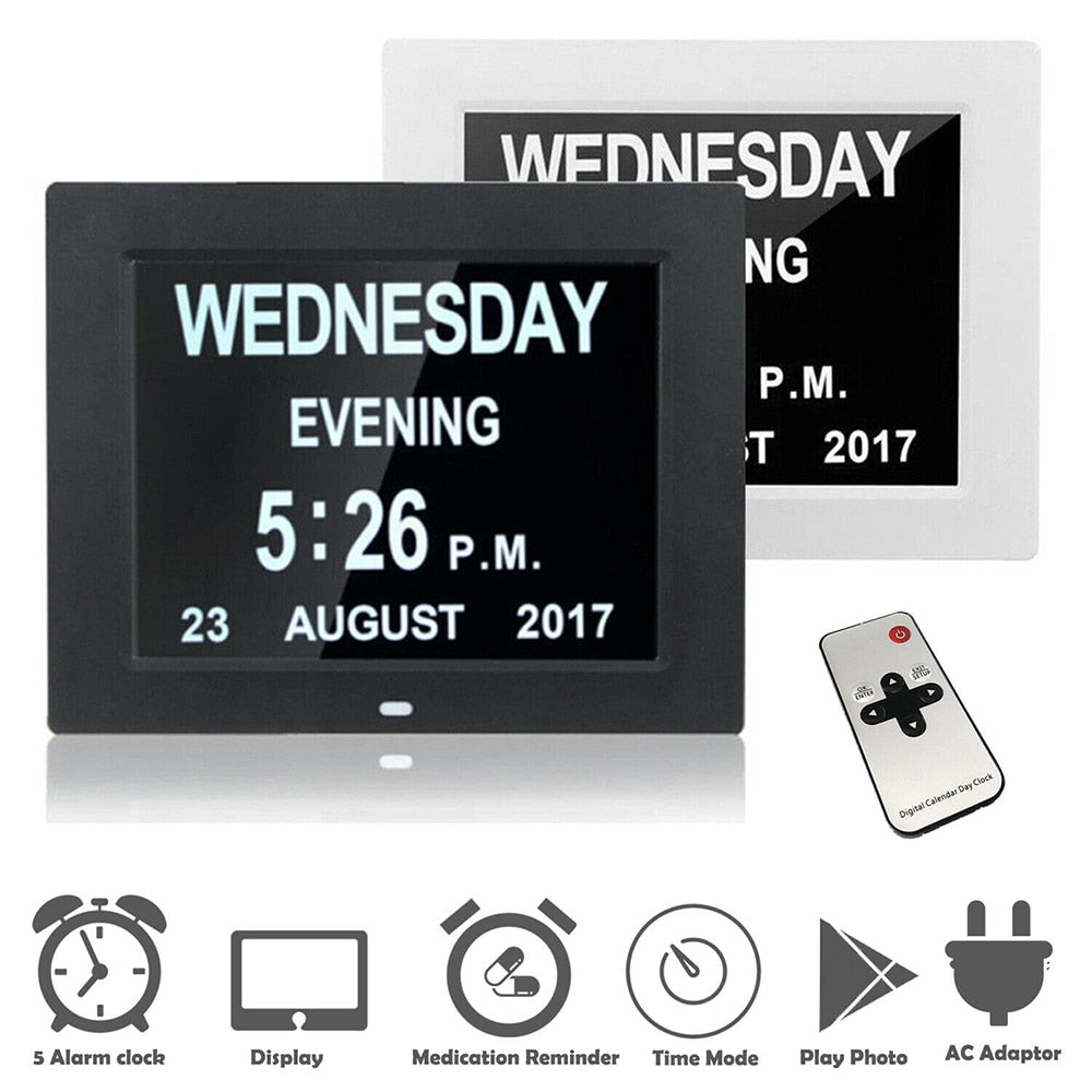 "7 "" 6 Languages Digital Day Clock LED Calendar Day/Week/Month/Year Electronic Alarm Clock for Home Decor"