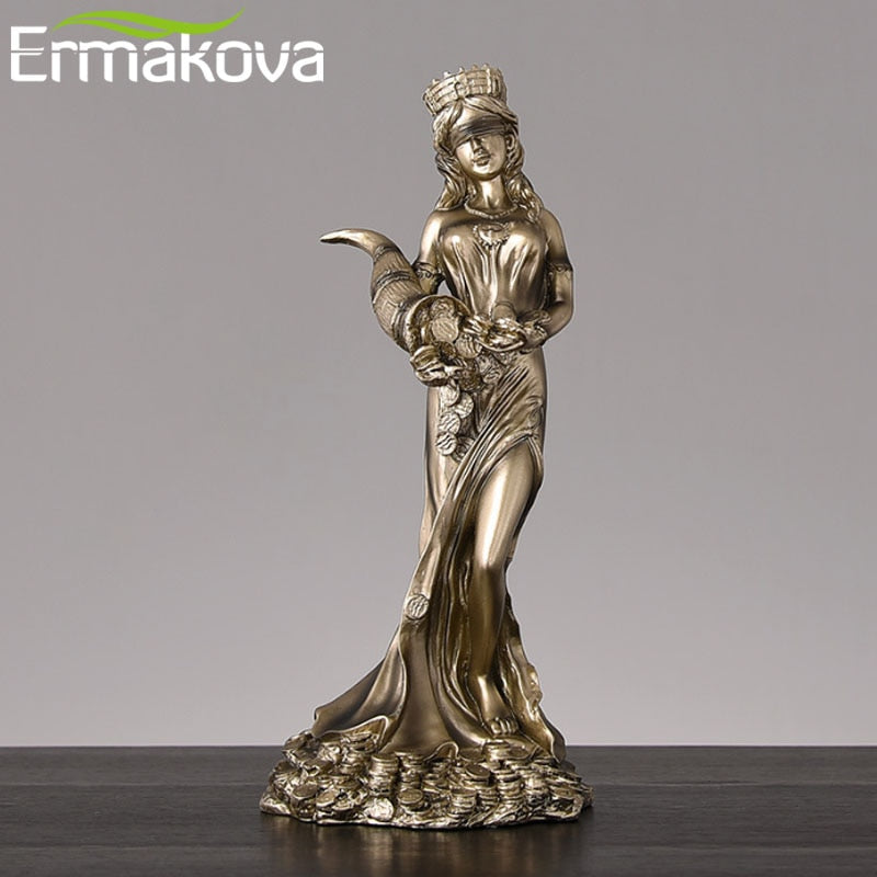 Large Size Blinded Greek Wealth Godess - Resin