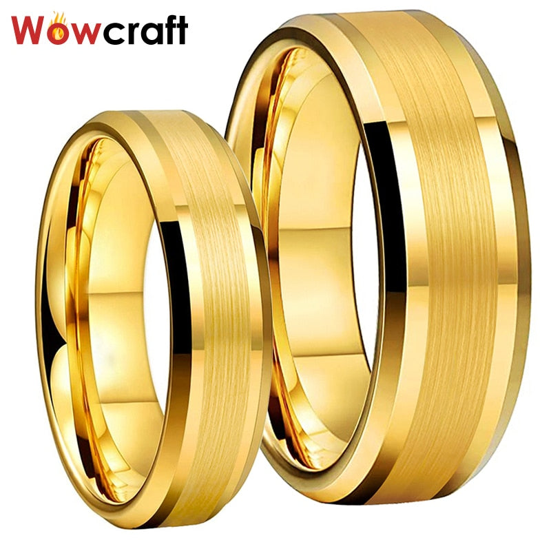 6mm 8mm Mens Womens Gold Tungsten Carbide Rings