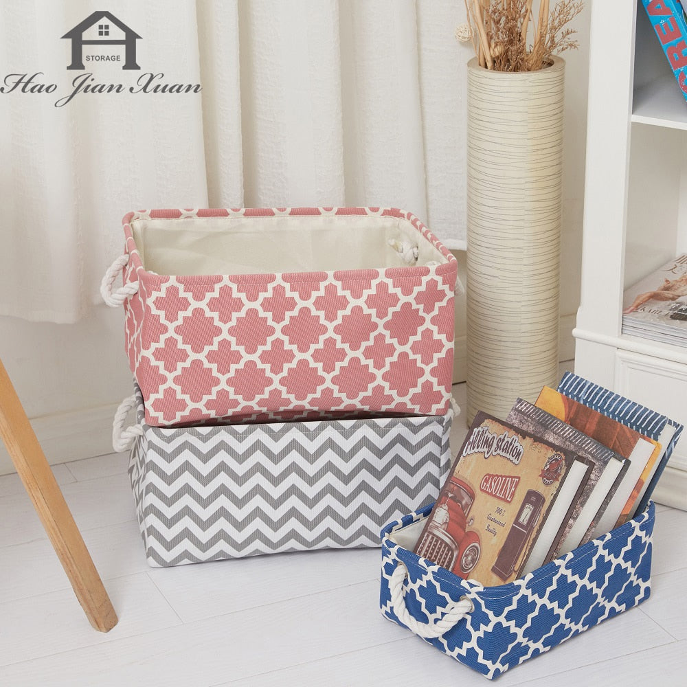 Cube Canvas Fabric Storage Basket