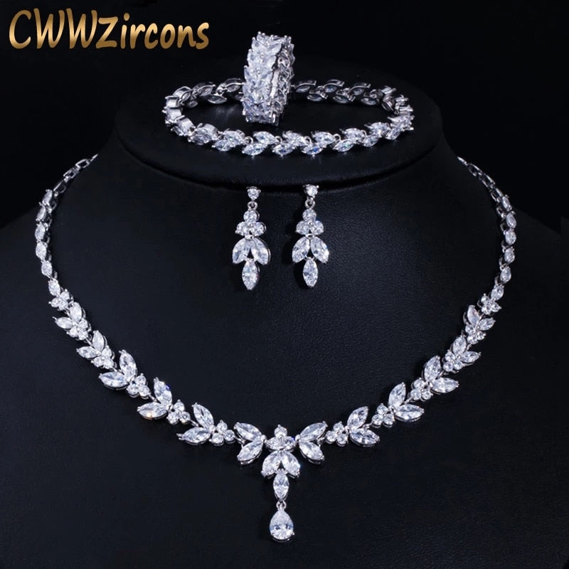 4Pcs Cubic Zircon Necklace Earrings Ring and Bracelet