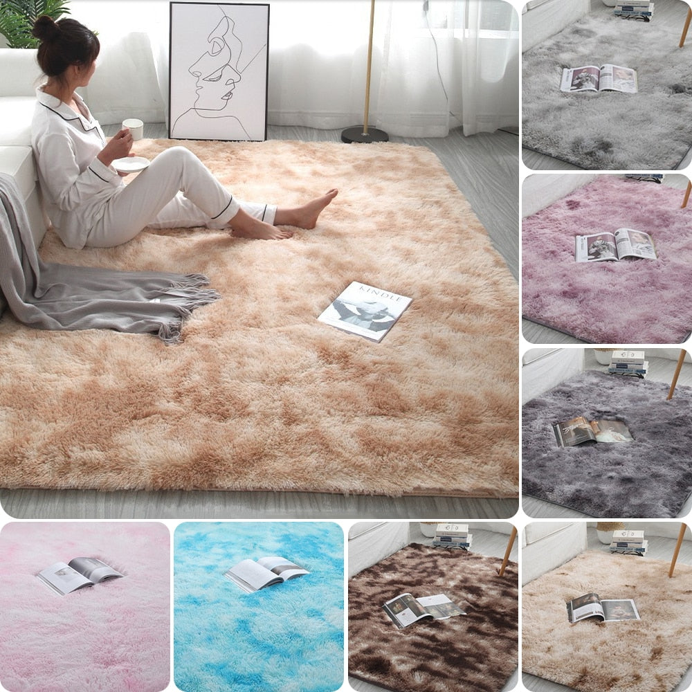 Grey Carpet Tie Dyeing Plush Soft Carpets For Living Room