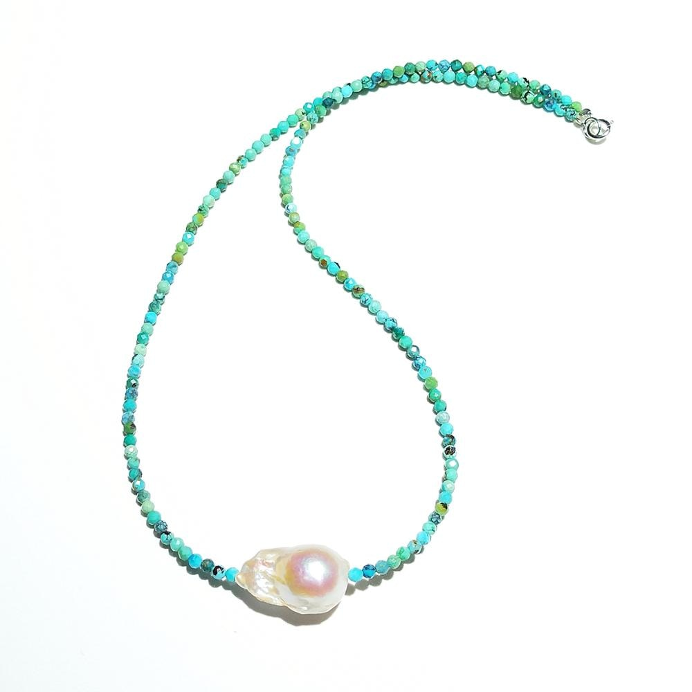 Choker Necklace - Turquoise Labradorite Moonstone -Baroque Pearl Bohemian Necklace 925 Sterling Silver