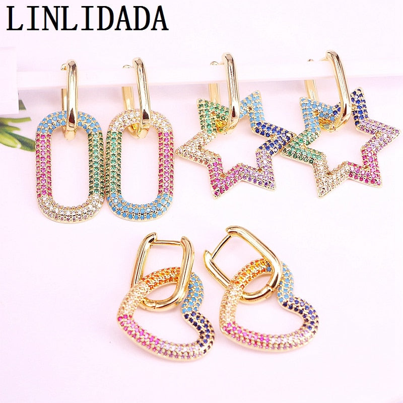 5Pair Brass rainbow Cubic Zircon oval heart star hoop Hoop Earrings