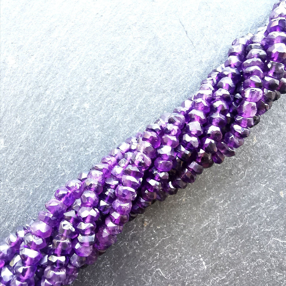 "Amethyst African 4mm Faceted Rondelle Beads 15"" Strand"