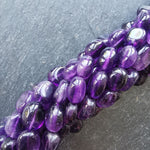 "Amethyst African Oval Beads 15"" Strand"