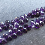 Amethyst Faceted Pear Briolettes (5 Beads)