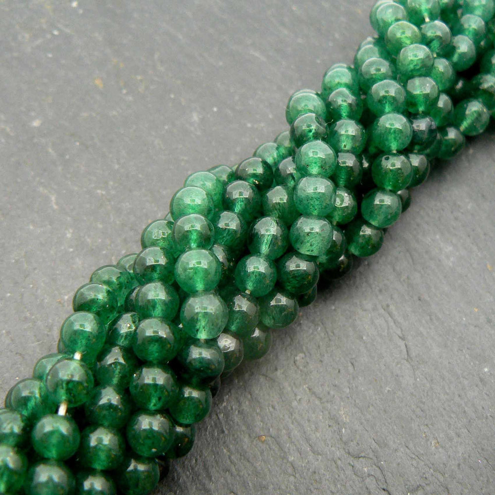 "Green Aventurine 4mm Round Beads 15"" Strand"