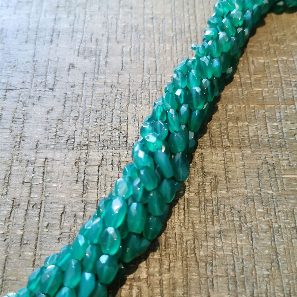"Green Onyx Faceted Oval Beads 15"" Strand"