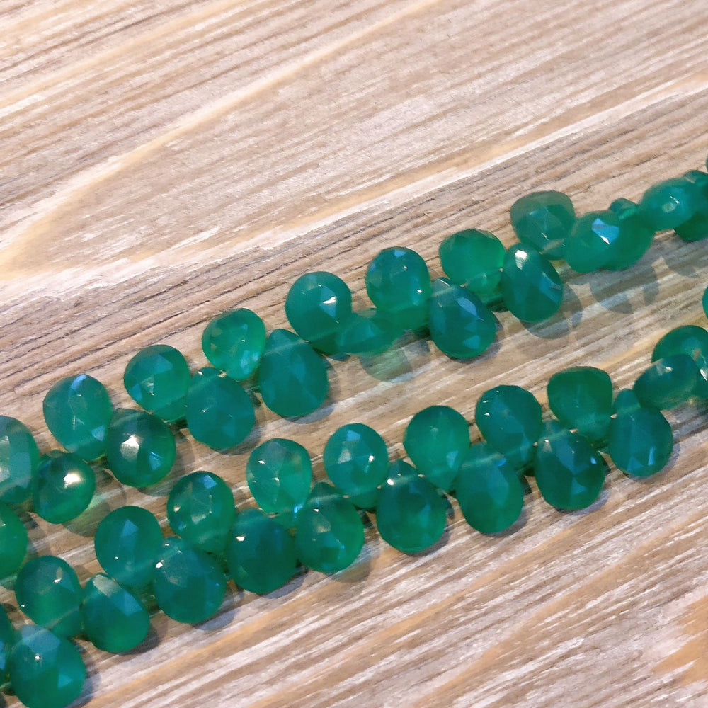 Green Onyx Faceted Pear Briolette Beads (Set of 5)