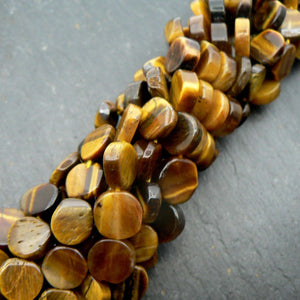 "Tiger Eye Coin Beads 15"" Strand"