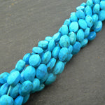 "Natural Turquoise Faceted Oval Beads 15"" Strand"