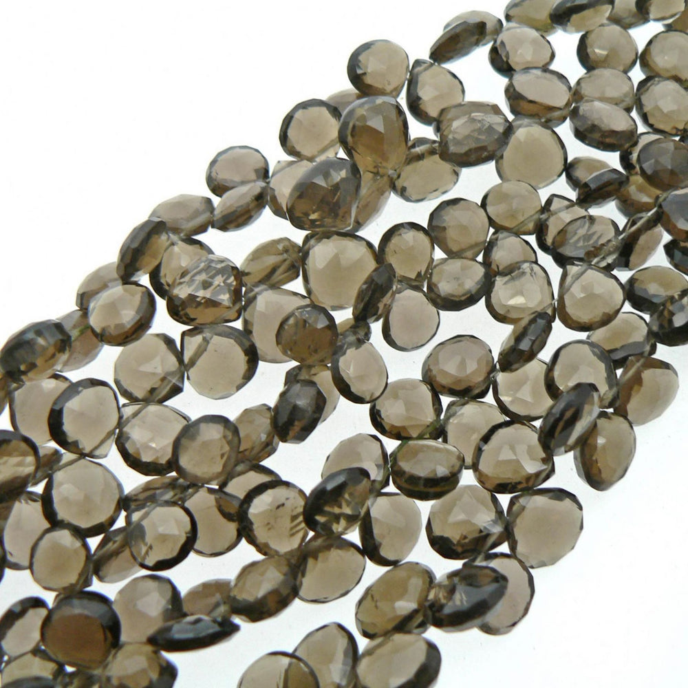Smoky Quartz Faceted Heart Drop Beads (Set of 10)