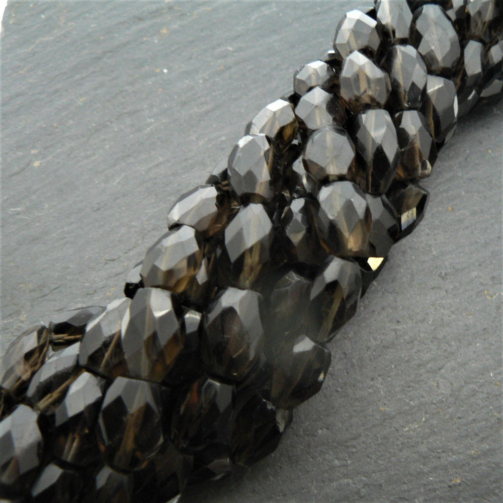 "Smoky Quartz Faceted Oval Beads 15"" Strand"