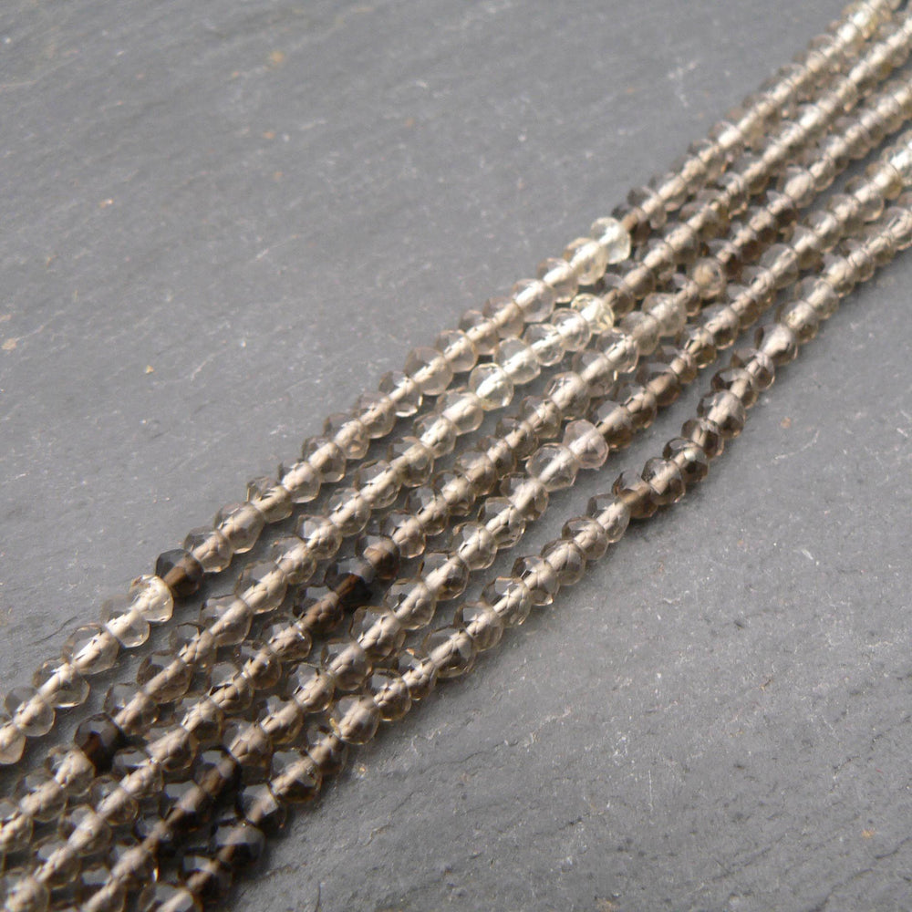 "Smoky Quartz Shaded AAA Faceted Rondelle Beads 14"" Strand"