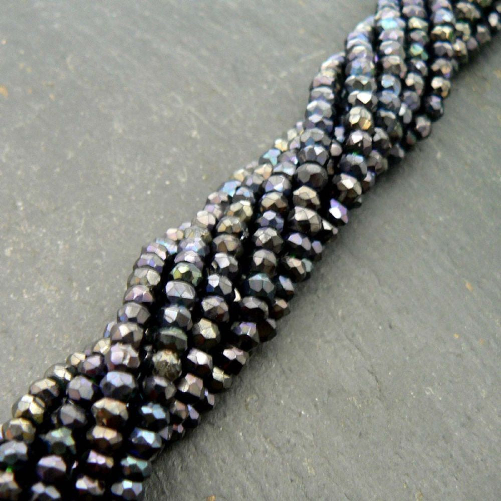 "Blue Spinel Machine Cut Faceted Rondelle Beads 15"" Beads"